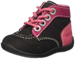 Kickers Bonbon, Chaussures Premiers Pas Bébé Fille, Noir (Noir/Fuchsia/Rose), 20 EU