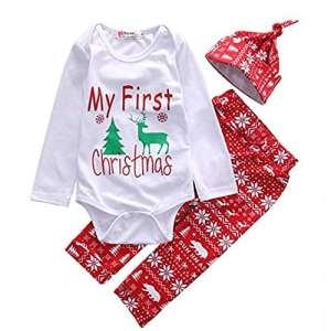 specool mignon nouveau-né bébé garçon filles Première de Noël Vêtements Combinaison pantalon Chapeau Costume de Noël – rouge – Large