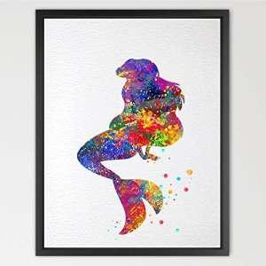 dignovel Studios Disney Princesse Ariel La Petite Sirène Aquarelle Art Print mur Art Poster filles enfants art mural art de décoration de chambre cadeau d'anniversaire cadeau de mariage n014-unframed