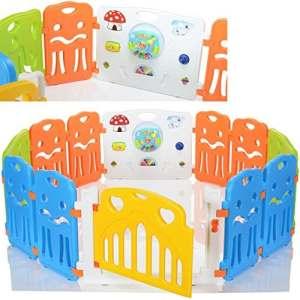 LCP Kids CORRAL Parc Bebe à 12 côtés avec porte et panel de jeu – Barrières de sécurité enfant