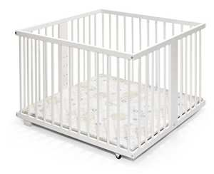 Parc de bébé | bois | 100×100 | blanc | réglable en hauteur