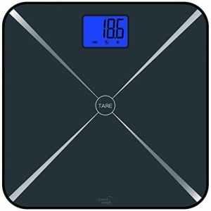 Smart Weigh Pèse-personne numérique pour le corps avec la fonction tare intelligente, un écran LCD et un plateau en verre trempé, capacité : 440 livres/200 kg (Noir)