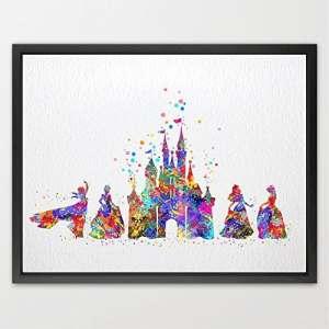 dignovel Studios Cendrillon Disney Princesse & Château Aquarelle Art Print Poster murale pour enfant filles Chambre Decor Art Mural à suspendre anniversaire cadeau de mariage n155-unframed