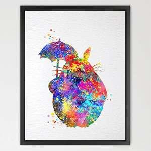 dignovel Studios Totoro parapluie avec illustration Aquarelle Art Poster imprimé totoro amitié Art Chambre Decor Art pour enfant Motif cadeau d'anniversaire de mariage n158-unframed
