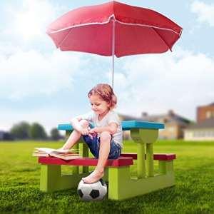 Infantastic – Ensemble de jardin pour enfant – table, 2 bancs et parasol