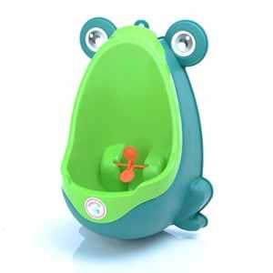 Babyhugs–mignon grenouille Lunette WC Formation Pipi pour urinoir pour garçons avec roue de moulin à vent Whirling Cible–Peluche–Vert