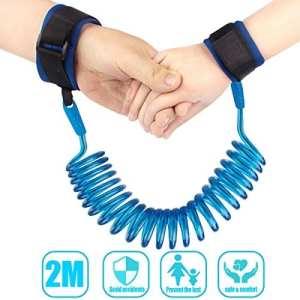 ENFANTS anti perdu Bracelet bébé Marche de sécurité pour enfant à la main Ceinture Velcro poignet Lien réglable Harnais de marche 2 m (Bleu)