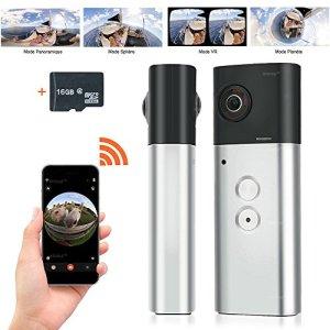 WISEUP 16GB Caméra panoramique Caméra Sport Wifi à 360 degrés avec double objectif à sphériques 200 ° Prise en charge de l'application Android iPhone 360 Camera
