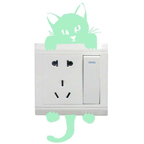 Interrupteur D/écorations Chambre de b/éb/é Stickers FESKIN 3 Pi/èces Chat Autocollant Mural lumineux dans lobscurit/é