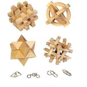 Jeu de patience casse tête en bois et métal – Lot de 8