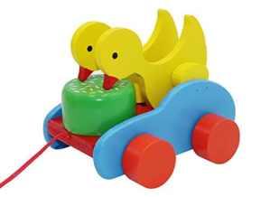Cadeau de Noël Coloré en bois éducatif tambour battre tirer sur chariot pour tout-petits Jouets pour enfants bébé Musique Illumination Jouets