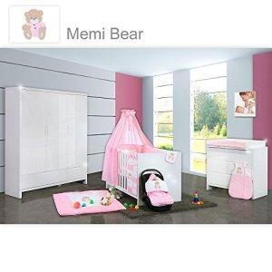 Chambre de bébé luiy brillant 20pièces avec 3türigem KL. + Textile Memi, rose