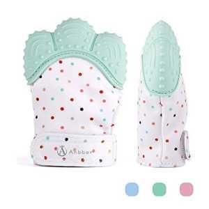 Jouet de dentition de bébé de gant de dentition de bébé – (3-12 mois) – NON BRILLANT – plus de baisse (maman inventée) – protège des mains de Babys et 100% de silicone de catégorie comestible. (Green)