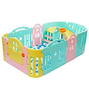 Parc bebe Pliant Portable Parc Bébé Bébé Multi Color Play Yard Avec Slide 11-Panneau De Sécurité Centre De Jeu Yard Maison Intérieur Extérieur