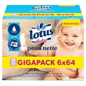 Lotus Baby Peau Nette – Lingette bébé – 6 paquets de 64 lingettes