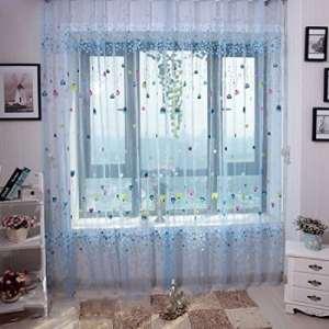 Sankt Sheer Panneau de rideau Tige de poche en-têtes Impression Motif fenêtre Draperies Drapes pour chambre à coucher, salon, 99,1cm W * 200,7cm Lï ¼ Œ1Panneau, bleu, 39*79inch