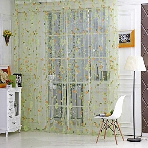 Sankt Sheer Rideaux Panneau Passe Tringle Voile Home D ¨ ¦ cor Window Drapes pour salon/salle de lit pour enfants (1Panel, 39W X 79L, 39W X 106L), Green, 39*79inch