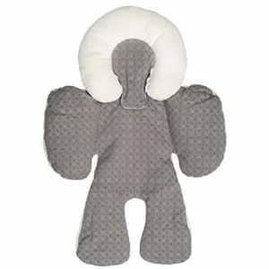 Fyore Doublure Poussette Coussin Soutien Bébé en Coton Ultra Souple Disponible à Toute Saison Oreiller Amovible 58x28cm (Gris)