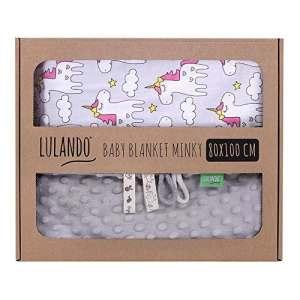 LULANDO Couverture MINKY 80×100 cm, couette, couverture pour poussette, réversible, pour journées fraîches, 100 % coton, anti-allergique, certificat Oeko-Tex, Couleur: Gris – Licorne grise