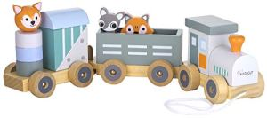 Kindsgut Petit Train en Bois et Cubes de Construction, Jouet en Bois bébé, Les Animaux du Zoo