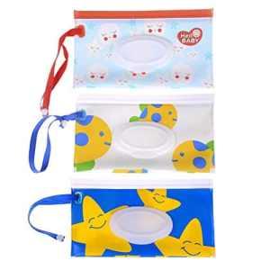 Lot de 1pochette bébé Lingette humide Lingettes de voyage portables rechargeables Portable Distributeur réutilisable à Sac de voyage Cases, motif aléatoire