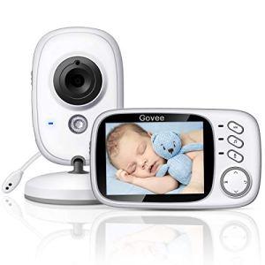 Babyphone Caméra, Govee Bébé Moniteur Vidéo Sans fil 3,2″ Écran LCD Couleur Ecoute Vision Nocturne Surveillance de la Température, Jouer les Berceuses et Système de Communication Bidirectionnelle.
