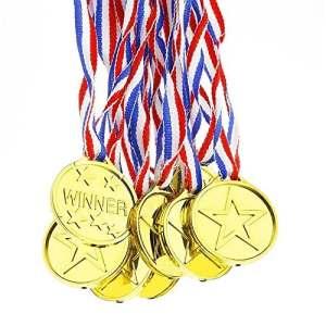 DDG EDMMS Jouets De Médaille Jouets De L'Olympiques Or Sportives Médailles Plastique Médaille D'Activités Pour Enfants 12 PCS