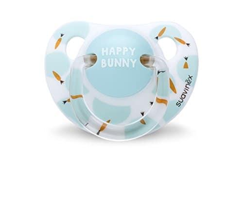 Suavinex Happy Bunny Sucette Physiologique en Silicone Blanc 0/6 Mois