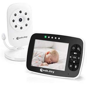 Babyphone Caméra Numérique Sans Fil avec grand écran 3.5″, 2.4GHz, Ecoute-bébé Moniteur avec Surveillance de la Température à 2 Voies, Système de Communication Bidirectionnelle