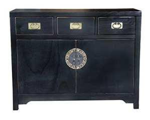 SIT-Möbel 1809–11Commode Chinese, 110x 42x 85cm, dans Le Style Dynastie Ming, peuplier Massif laqué Noir