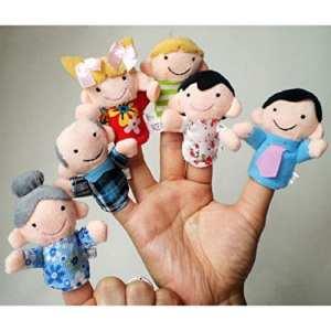 Amison 6pcs Nouveau membre de la famille Doux Puppet peluche doigt jouets