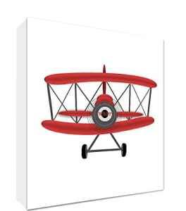 Feel Good Art Toile sur Cadre avec Front Solide dans Style d'Illustration Moderne Avion de Sport d'Époque Rouge/Blanc 10,5 x 14,8 x 2 cm Petit