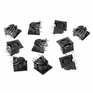 JOYKK 10 pièces/Ensemble connecteur Femelle à Montage sur Panneau DIN5 Prise DIN 5 Broches – Noir