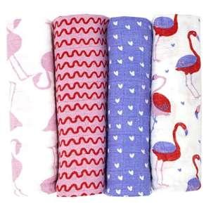 Lange bébé en mousseline de coton Emma+Noah, lot de 4 pièces 100% coton, 80×80 cm, bavoir pour bébés tendre et doux, aussi couches en tissu, lange bébé coton (Fiamant)