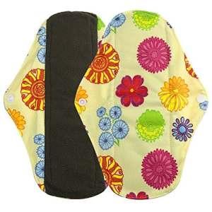Serviettes hygièniques lavables Allegorly Bambou réutilisables lingette lavable menstruel serviette hygiénique de Pad Mama (S, Orange)