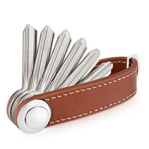Sinwind Porte clé Organiseur Compact en Cuir – Organisateur de Clés – Key Organizer – Fabriqué en Cuir de qualité Durable (Marron)