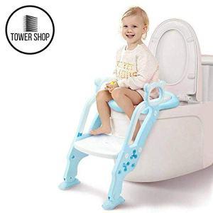 Tower Shop – Siège de Toilette, Réducteur de WC avec échelle, Apprentissage pour enfants, 2en1, Trainer pour bébés, Nouveau Modèle 2019, Coussin plus Haut, plus Confortable, plus Stable (bleu clair)