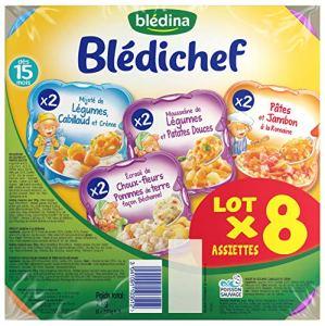 Blédina Blédichef Assortiment de 8 assiettes (4 x 2 recettes) dès 15 mois