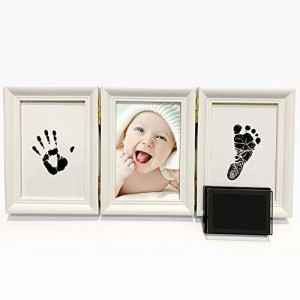 BraceTek Cadre Empreintes Bébé Encre, PewinGo kit Empreinte Main bébé- Un souvenir de vie et un cadeau idéal pour les enfants 【Non toxique】