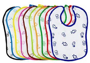 Heaven 10x Bavoirs, serviettes, bavette pour bébé, bébé mixte. 100% coton absorbant doux, lavable. Hypoallergénique Antibactérien. Imperméable, colorés, salive, allaitement.