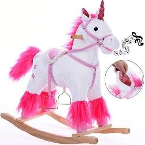 Licorne à Bascule avec étriers, Selle et Fonction sonore, Jeu de Bascule pour Enfant Jouet de Bascule Peluche à bascules