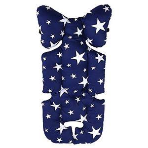 Luzoeo Coussin Soutien de Poussette Motif Cartoon pour Bébé en Conton Coussin Réducteur de Landau Enfant Souple Confortable Sécurisé pour Poussette Siège de Voiture 35×78 cm (Étoiles Bleues)