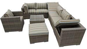 LYQZ Aluminium extérieur d'angle modulaire de Sofa de Coin de Meubles de Jardin de rotin de Combinaison de Rayure avec la Chaise supplémentaire (Couleur : B)