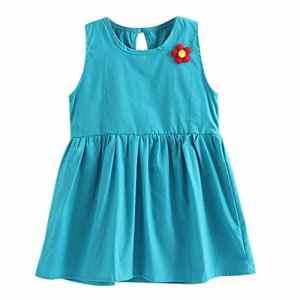 POIUDE Liquidation Robe de Princesse en Coton DéContractéE sans Manches pour Fille Pendant 1-5Ans(Bleu,2-3 Ans)