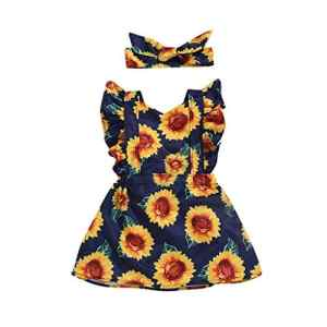 POIUDE Robe de Fille de BéBé, Robes de Fleur BrodéEs par Point de Tournesol(Jaune,2-3 Ans)