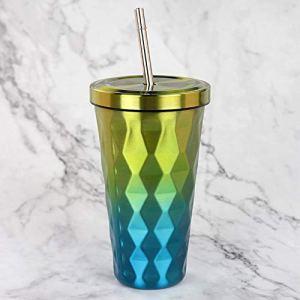 Tasses en acier inoxydable avec pailles Diamond 500ml