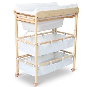 Commode à langer avec baignoire intégrée en tissu et bois Blanc