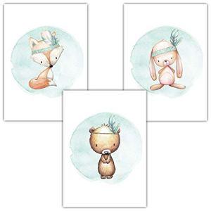 Frechdax Lot de 3 Posters pour Chambre d'enfant Motif Lapin de Noël Format A4, 3er Set Mintgrün, Boho, Tiermotive, DIN A4