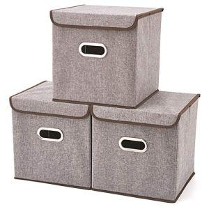 EZOWare Boîte de Rangement Set de 3 Pliable avec Couvercle, Cube et Décoration Rangement, Bac à Panier pour Vêtement, sous-vêtements, Jouets, Magazine ou Petit Trucs etc – 32x32x32