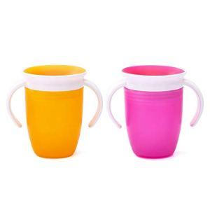 Coupe à boire pour bébé anti-acariens à 360 ° Découvrez comment boire une tasse anti-fuites pour bébé rose + orange